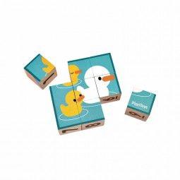 Puzzle de cubos de madera de Plan Toys cara de los patos.